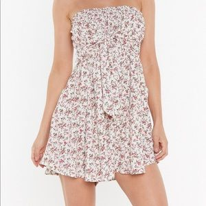 Strapless Flower Print Romper w/ Pockets